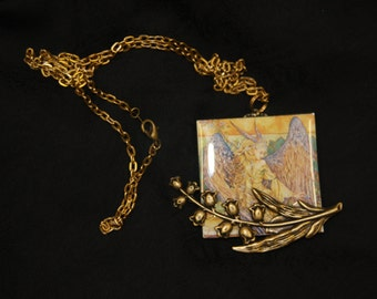 Glass square fairy woman goddess flower branch necklace