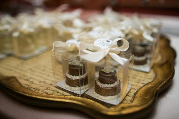One Dozen of  Solid Chocolate Candy Mini Cake Wedding Favor .