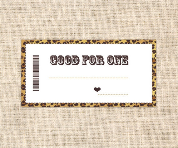 Printable Blank Coupons - Gold/Brown Leopard Skin - Gift for Husband, Wife, Girlfriend or Boyfriend