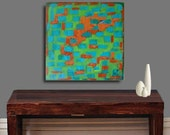Orange Turquoise Green -Abstract Acrylic Painting Canvas