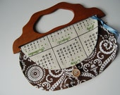 1970 Calendar Girl Vintage Towel Purse with wooden handle