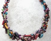 Wire Crochet Necklace Featuring Anodized Aluminum Beads