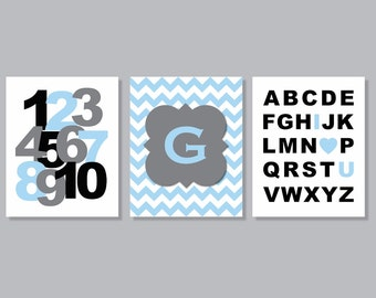 Alphabet Love Monogram Kids Children Wall Art Baby Personalized Print Nursery Canvas