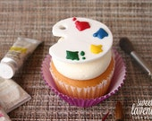 Edible Paint Palette Cupcake Toppers