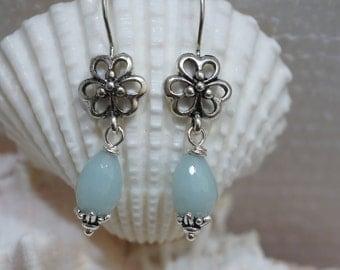 Amazonite Drop Earrings Gemstone Earrings - Pastel jewelry  Antique Silver Earrings