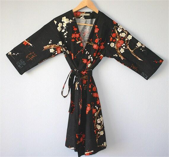 Mid Calf/Ankle Length Kimono Robe. Dressing Gown. Bathrobe. Maternity Robe. Modern Kimono Garden Black..