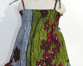 African green flower print baby dress