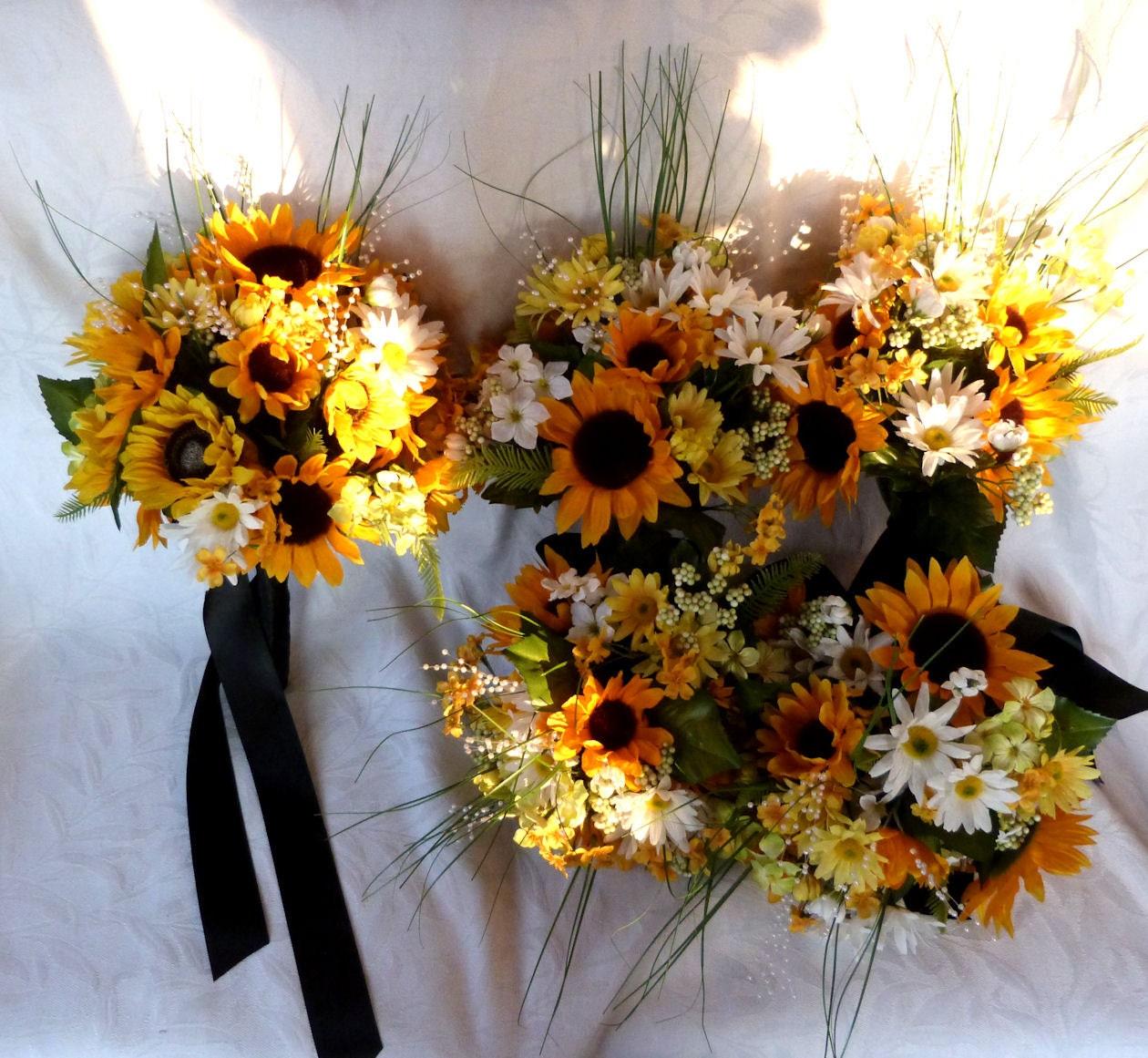 Sunflower Wedding Bouquet Ideas: Reserved Sunflower And Daisy Bridal Bouquets Wedding Bouquets