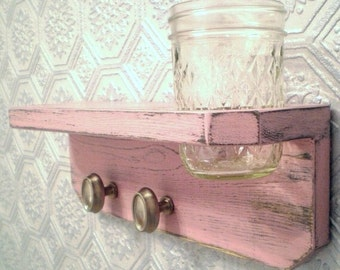 Shabby Chic Wall Shelf with vase, Baby Pink wall hanging, Wall Vase