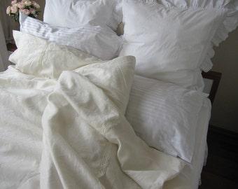 QUEEN duvet cover linen Ivory Cream Bedding  - Offf white linen elegant wedding bedding