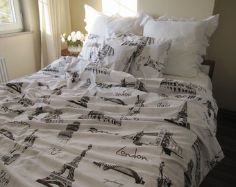 Super king 120x120 inch 120x98 - QUEEN Twin XL duvet cover-Eiffel tower Paris London Roma print cotton duvet cover-white brown book bedding