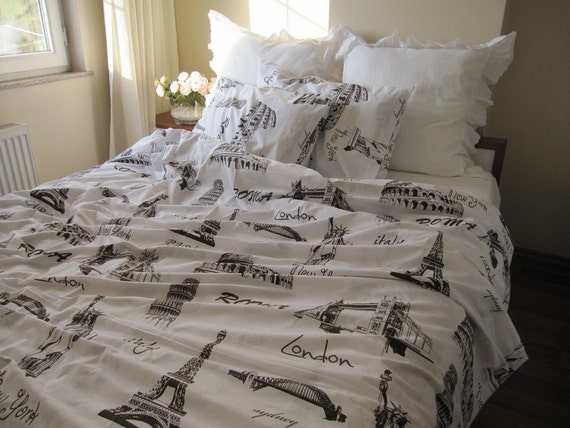 items similar to twin xl single duvet cover eiffel tower theme paris london roma print white. Black Bedroom Furniture Sets. Home Design Ideas