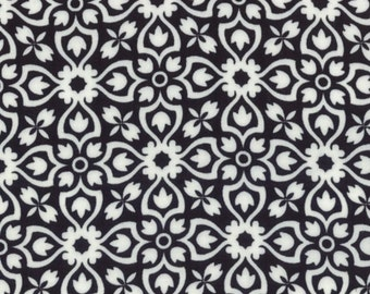 1 Yard of Shades Of Black Black White Floral Fancy Fun by Me & My Sister Designs for Moda