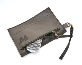 dark green leather repurposed zipper clutch - leather pencil pouch - repurposed leather - gift for her