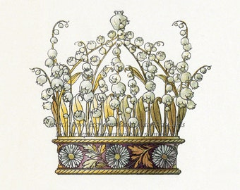 Art Nouveau Crown Print - Lily of the Valley Daisies - Anton Seder Repro