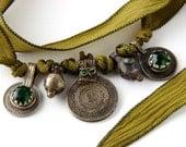 Avocado Green Silk Ribbon Bracelet with Upcycled Kuchi Coins, Belly Dance Tribal Fusion Bohemian Silk Wrap Bracelet, Gypsy Silk Choker