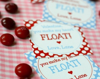 DIY, Personalized Valentine Tag, You make my heart FLOAT