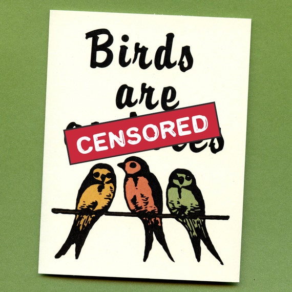 BIRDS ARE A%Holes - Mature & Funny Greeting Card - Put A Bird On It