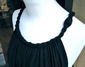 CUSTOM Summer Dress, Drapey, Flowing Black Linen fabric flows from braided neckine to contoured hemline