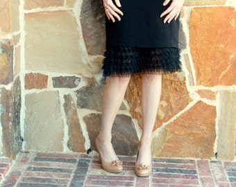 Extender Slip: Tiered Black Soft Tulle Black