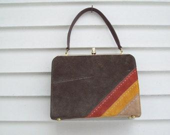 Mod Faux Suede / Leather Handbag / 60s Clutch