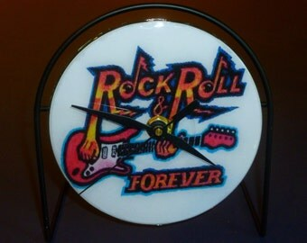 Rock And Roll  Recycled CD Clock Art