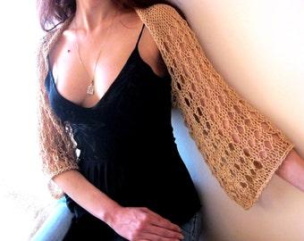 CARAMEL BEIGE COTTON Shrug...Elegant Hand Knitted Summer Shrug