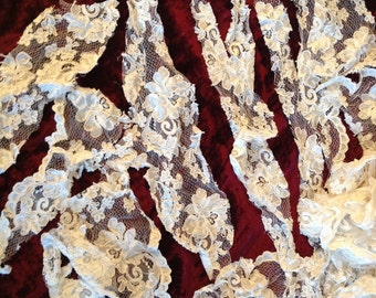 LACE scraps from JESSICA McCLINTOK Gunne Sax manufacturing crazy quilting Collage projects doll clothing