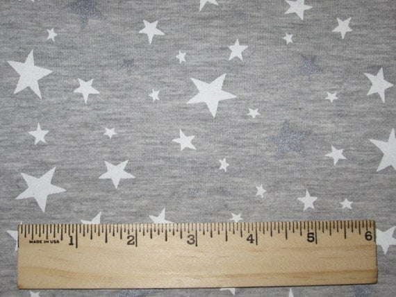 Knitting Essentials White Sparkle Wool : White silver sparkle stars on heather grey cotton lycra knit