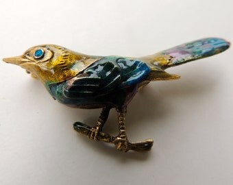 Enamel blue bird brooch                   VJSE