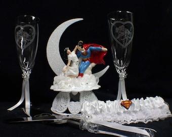 SUPERMAN Lois Lane Wedding Cake topper LOT glasses, knife,  garter