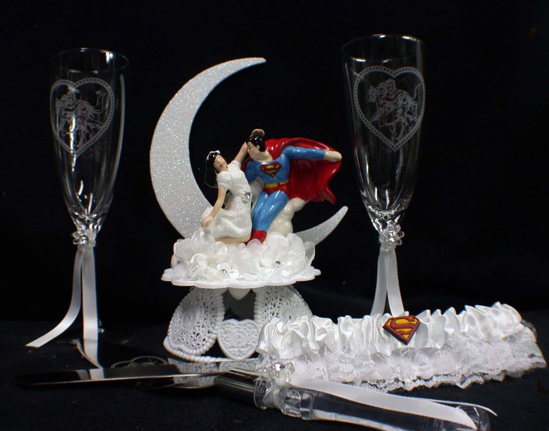 superman lois lane wedding cake topper lot glasses knife garter - Superman Wedding Rings