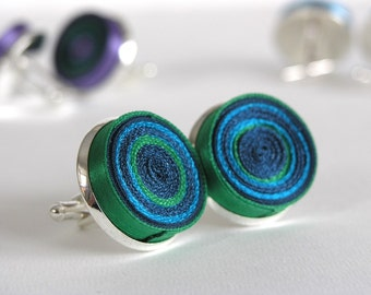 Cuff links unisex, fabric cuff links, cuff links green, cuff links purple, gift for man - Accessories for men and women OOAK ready to ship