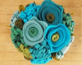 RESERVED- Felt Flower Bouquet in Mason Jar- Floral Arrangement- Blue Green- Summer-  Wedding -Bridesmaid Gift