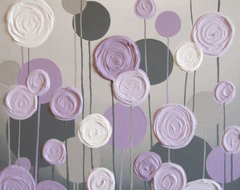 Grey and Purple Modern Nursery Art,  Impasto Acrylic on Canvas, Made to Order