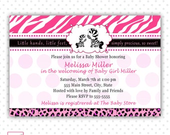 Zebra Baby Shower Invitation Card - Leopard Jungle Safari Background Baby Girl Shower Invite Printable Personalized Party Invite