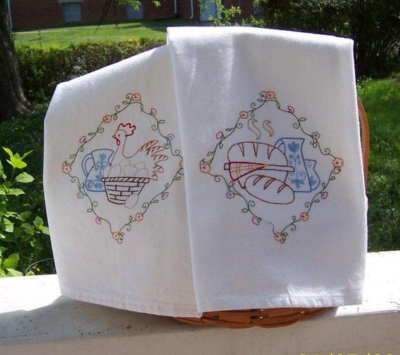 Country Bread And Eggs Set Of 2 Tea Towels Embroidered Tea