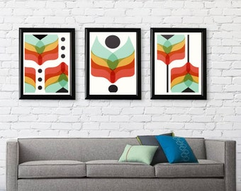Mid Century Modern Art Flower Series // Gifts under 50 //Free Shipping