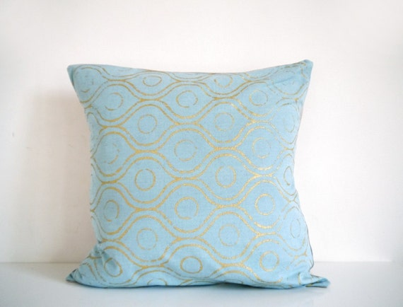 Light Blue And Gold Throw Pillows : Items similar to Aqua and gold pillow - metallic gold geometric print, decorative pillow ...