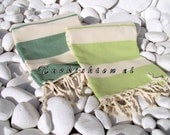 Set of 4-NEW-Turkishtowel-Soft,High Quality,Hand Woven,Natural,Organic,Cotton Bath,Beach,Spa Towels or Sarongs-Cream,Emerald and Lime Green