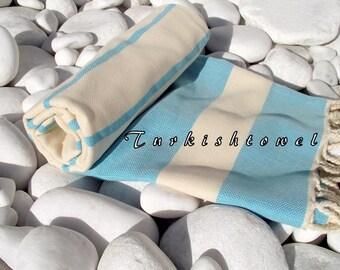 NEW-Turkishtowel-High Quality,Hand Woven,Natural,Organic,Cotton Bath,Beach,Spa,Yoga,Travel Towel or Sarong-Cream,Turquoise,Aqua