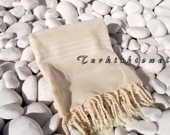 Turkishtowel-NEW Soft-High Quality,Hand Woven,Cotton Bath,Beach,Pool,Spa,Yoga,Travel Towel or Sarong-Ivory Stripes on Natural Cream-Undyed