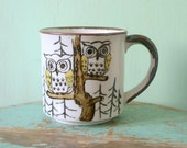 Vintage OWL MUG....retro housewares. drink. coffee. mug. kitsch. kitchen. trees. woods. outdoors. 80s housewares. gift. owls. owl print