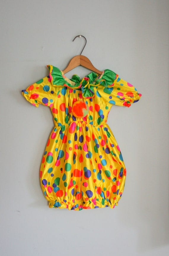 Vintage Clown Costume Kids Girls Boys Children Polka
