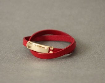 18k Gold Plated Closure Double Wrap Leather Bracelet(Red)