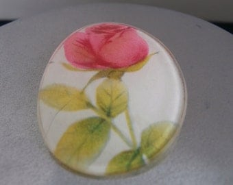 Hand Painted Rose Pin Brooch  Circa 1960s