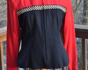 Vintage Womens Blazer Red and Black Gold Trim Size 12 Colorblock Jacket