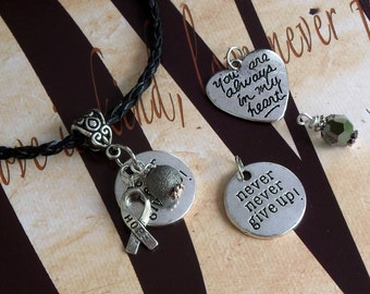 Parkinson's Disease, Dyslexia Awareness 'Never Never Give Up' or 'You Are Always In My Heart' Charm Pendant