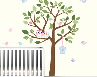 Tree  Decal with Birds,Bird House,Owls-Kids Vinyl Wall Sticker