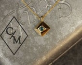 14k Gold Pyramid Pendant with Blue Diamond - ready to ship